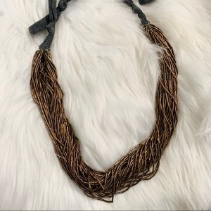 NECKLACE Chunky Gold Beaded Tie Costume Jewelry